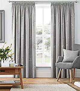 "Silver Grey Floral 90x72"" 229x183cm 100% Cotton Pencil Pleat Curtains Drapes by Curtains"