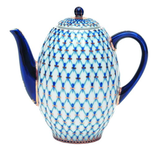 Lomonosov Porcelain Coffee Pot, Tulip, Cobalt Net, 58 Oz