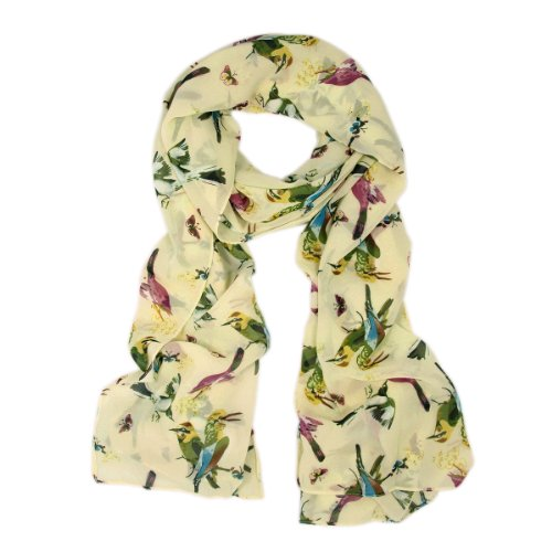 Elegant Birds & Butterflies Print Fashion Scarf, Cream
