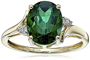 10k Yellow Gold Created Emerald and Diamond Oval Ring, Size 6