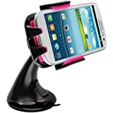 Intek I-Touch Button Car Windshield & Dashboard Mount for Iphone 4/4s/5/5c/5s, Galaxy S4/s3/s2, Galaxy Note 1/2/3 HTC One,/one X, Droid Razr Maxx, Google Nexus, Lg Optimus - Retail Packaging (Pink)