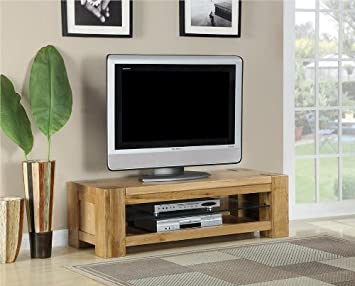 Milton solid oak living room furniture medium plasma tv stand cabinet