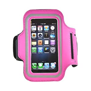 Apple Iphone 5 Sweat-proof Neoprene Armband Case W/ Velcro Closure - Hot Pink
