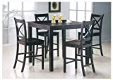 5pcs Martha Espresso Finish Counter Height Gathering Table Set