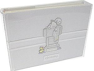 White Cotton Cards - Álbum de fotos de bautizo, tamaño pequeño, diseño de conejo, color gris en BebeHogar.com