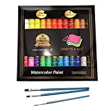 Watercolor Paint Set by Crafts 4 All 24 Premium Quality Art Watercolors Painting Kit for Artists, Students & Beginners - Perfect for Landscape and Portrait Paintings on Canvas (24 x 12ml) (Tamaño: 24x12ml)
