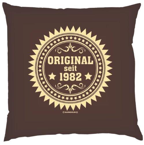 Kissen mit Innenkissen – Original seit 1982 – Jahrgang 1982 – 40 x 40 cm – in schoco-braun jetzt kaufen