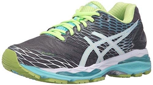 ASICS Women's Gel-Nimbus 18 Running Shoe, Titanium/White/Turquoise, 7.5 M US