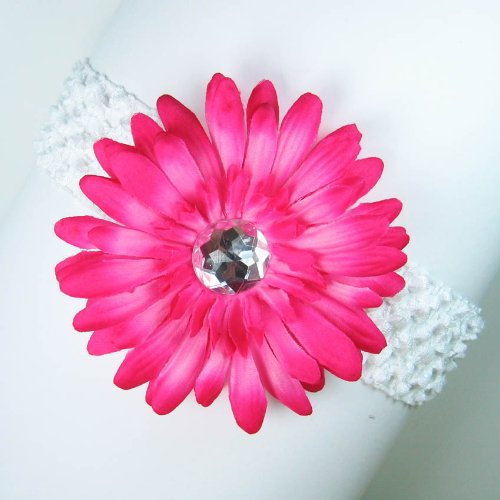 3-in-1 Gerber Daisy Flower Hair Clip Bow on Soft Stretch Crochet Child Headband fits Babies to Toddlers to Youth Girls - Hot Pink on White