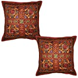Indian Mirror Work Design Elegant Embroidery Work Decorative Cotton Pillow Cushion Cover 16 X 16 Inches Set Of...