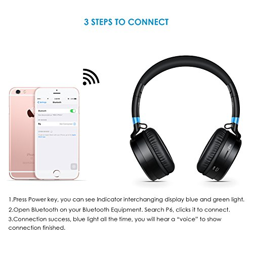 picun p6 drahtlose bluetooth 4 0 stereo on ear kopfh rer. Black Bedroom Furniture Sets. Home Design Ideas