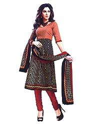 Namaskaar India Appealing Red & Black Printed Salwar Suit Dupatta Material For Women