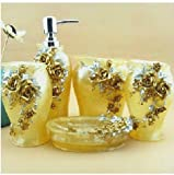 Bathroom Accessory Sets - Luxurious golden yellow roses resin four-pieces set / wash suit / wedding gift