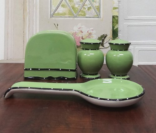 Tuscany Pistachio Green, Ruffle 4Pc Stove Top Set, Napkin,Salt, Pepper And Spoon Rest, 85425/28 By Ack back-156571