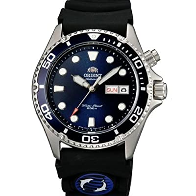 12e4aeee9a2 Orient Ray Blue Dial 21-Jewel Automatic Dive Watch on Rubber Strap EM6500CD
