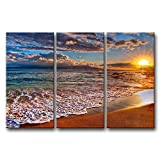 3 Panel Wall Art Painting Beach Sunrise White Wave Prints On Canvas The Picture Seascape Pictures Oil For Home Modern Decoration Print Decor For Items
