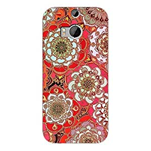 EYP Orange Flowers Pattern Back Cover Case for HTC One M8