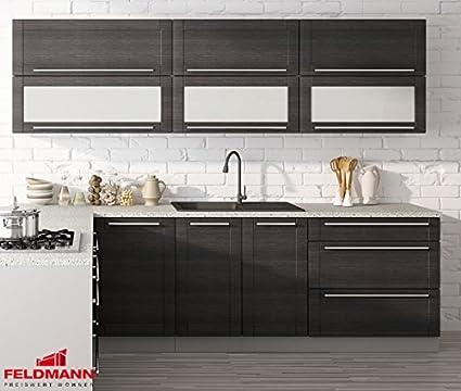 Kuchenzeile 16152 Kuchenblock grau / fino schwarz 250cm