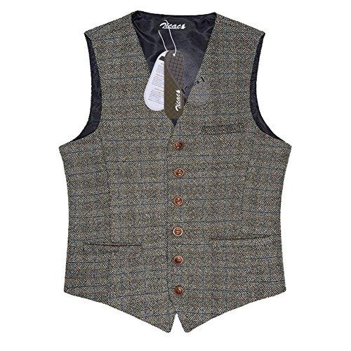 Zicac denim uomo del panciotto della maglia gilet uomo alla moda ... (EU L (Asia XXXL), Marrone)