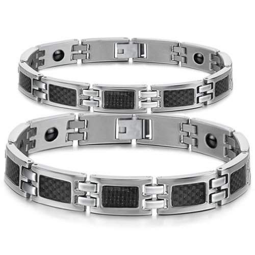South Korea Style New Fashion Inlaid Health care magnetic stone Titanium Stainless Steel Couple's/Women's/Men's Bracelets Bangles Best Gift!