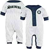 MLB Majestic Seattle Mariners Infant White Pinstripe Coveralls (6-9 Months) at Amazon.com