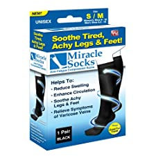 Miracle Socks Socks, Unisex, S/M, Black 1 pair