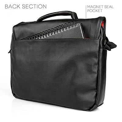 Caseflex Messenger Bag - Black PU Leather & Grey Linen Shoulder Bag from Caseflex
