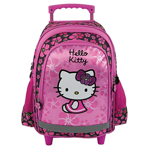 Maxi & Mini, Zaino trolley grande, motivo: Hello Kitty/fiori, colore: rosa, Novità Sanrio (38)