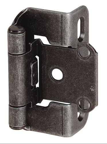 Amerock BP7550-WI Self-Closing, Partial Wrap 1/2-Inch Overlay Hinge, Wrought Iron