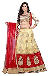 Orange Fab Beige Embroidered Lehenga Choli
