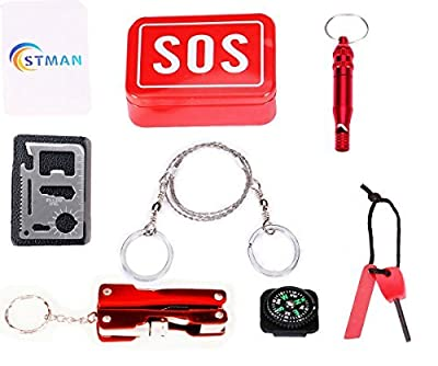 STMAN Outdoor Emergency Survival Gear Kit SOS Survival Tool Pack 6 Piece contain Magnesium flint fire Multi-function Saber Card Wire Saw Multifunctio One Pack/Traveling/Hiking/Biking/Climbing from STMAN