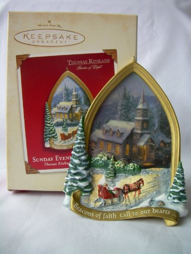 Hallmark Ornament 2002 Thomas Kinkade Sunday Evening Sleigh Ride
