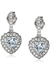 10k White Gold Aquamarine and Diamond (0.25cttw, G-H Color, I1-I2 Clarity) Heart Pin Earrings