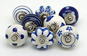 Set of 8 Navy Blue and White Ceramic Door Knobs by These Please S8-6