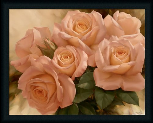 Peach Rose Splendor I By Igor Levashov Shabby Cottage Wall Décor Art Print Framed Picture front-754545