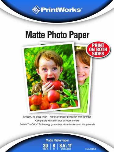 Printworks Matte Photo Paper, Double-Sided, 8 Mil, Inkjet, 30 Sheets, 8.5 x 11 Inch (00548) (Double Sided Matte Photo Paper compare prices)