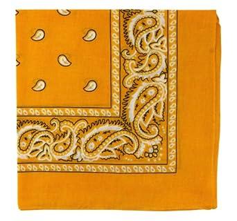 "Bandanas By The Dozen 100% Cotton 12-Pack 22"" x 22"" - Paisley Gold"