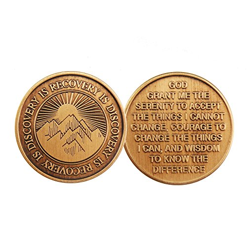 Recovery Is Discovery - Bronze AA (Alcoholics Anonymous) -ACA-AL-ANON - Sober / Sobriety / Affirmation / Birthday / Anniversary / Desire / Recovery / Medallion / Coin / Chip - 1
