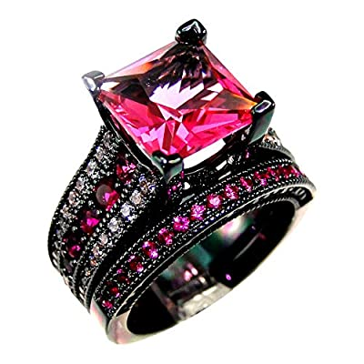 DJ CH AAA Zircon Rose Cubic Cz Stone Women Wedding Black Ring Set Size 5-11