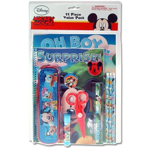 Disney Mickey Mouse 11 Piece Stationery (School) Set - Pencil Pouch, Pencils, Erasers, Pencil Sharpener & More