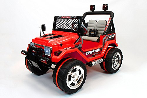 Jeep Wrangler Style 12V Kids Ride-On Car MP3 Battery Powered Wheels RC Parental Remote | True Red