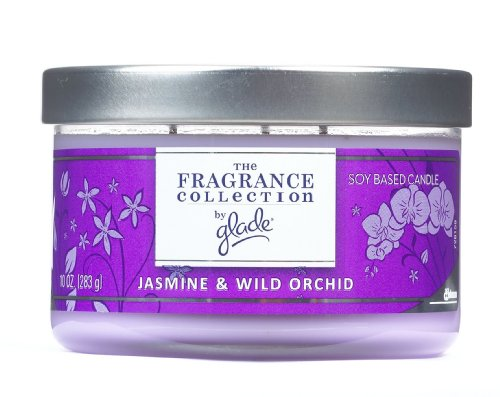 Glade The Fragrance Collection Multi-Wick Candle, Jasmine & Wild Orchid, 10-Ounce Jars (Pack of 2)