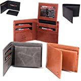 Alpine Swiss Mens Leather Bifold Wallet with Flip Up ID Window With Removable Card Case Comes in a Gift Bag