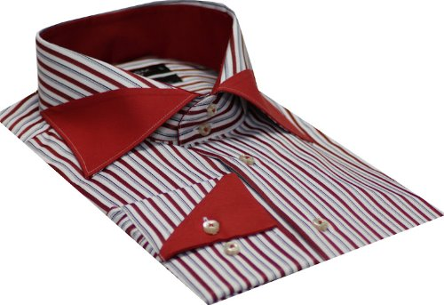 Italian Design Men's Formal Casual Shirts Designed Collar & Cuffs Red Colour