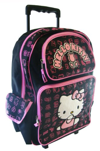 Black Hello Kitty Rolling Backpack – Full size Kitty w/Tulip Wheeled Backpack