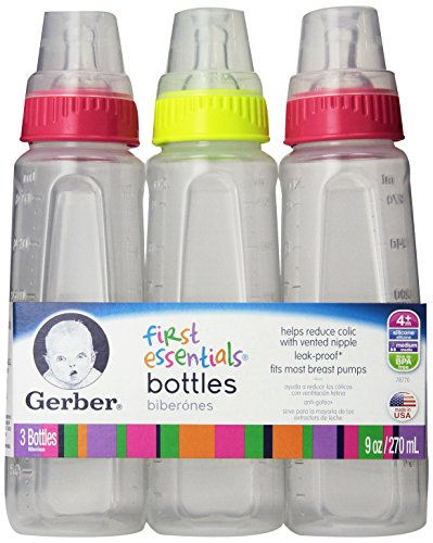 Gerber First Essentials Clearview Bottles with Silicone Nipple in Green and Pink, 9-Ounce, 9 Count