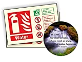 Water Fire Extinguisher Photoluminescent Sign 150x100mm Self Adhesive Pack of 50 With Coaster