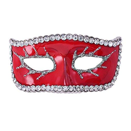 Eizur Unisex Halloween Maschera Spilla Pin Cristallo Strass Lapel Pin per Costume per Halloween Decorazione Partito Favore Regalo--Rosso