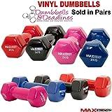 MAXSTRENGTH Vinyl dumbbells Aerobic Weight Fitness Arm Exercise Training Set Hand Pair Home Gym 0.5KG, 1kg, 2kg, PAIR