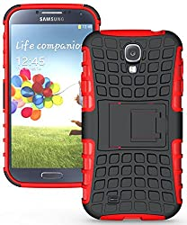 Heartly Flip Kick Stand Spider Hard Dual Rugged Armor Hybrid Bumper Back Case Cover For Samsung Galaxy S4 I9500 - Hot Red